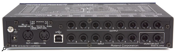 Each pair of the UA101's inputs can be switched between -10 and +4 sensitivity settings using a DIP switch on the rear panel.