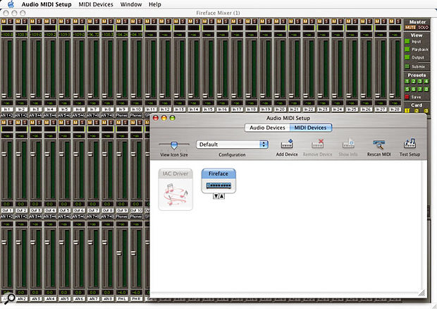 The Fireface is fully Mac OS X-compatible, and here you can see the Total Mix fader view in the background with OS X's Audio MIDI Setup utility showing the Fireface's MIDI ports in the foreground.