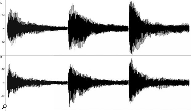 One demonstration of why velocity switching is necessary. Shown here in a stereo editor are three separate performances of the same combination of notes (three G#s in different octaves), each louder than the last, from Alfred Brendel's classic 1972 piano performance of Movement 3 of Beethoven's 'Moonlight Sonata'. As you can see from the shape of the waveforms, even the same notes played more loudly or quietly on a grand piano produce very different waves, with the louder notes creating more high frequencies. You certainly can't achieve a realistic sampled piano sound by sampling the notes at one velocity, and making these samples play back more loudly with increasing velocity.