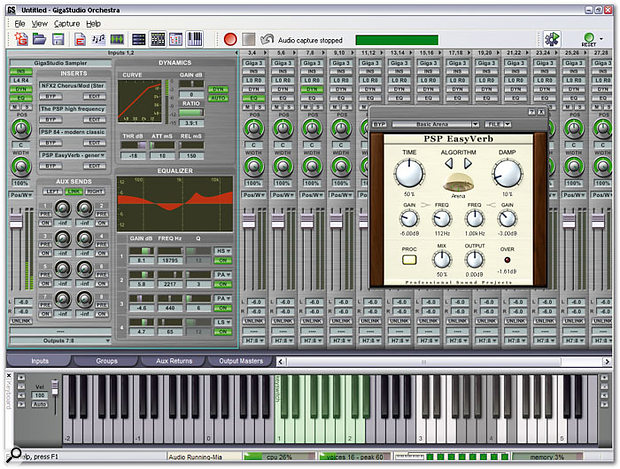The upgraded DSP Station provides EQ and Dynamics on each Input and Group channel, as well as supporting VST plug-ins like PSP's EasyVerb shown here.