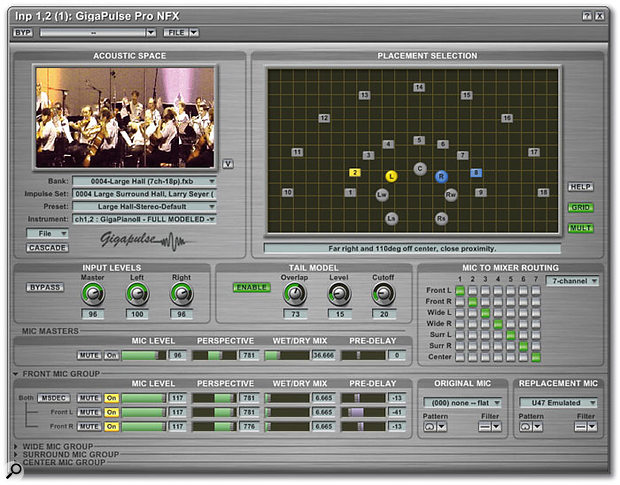 Although initially overwhelming, the Gigapulse editing window provides detailed control over Gigastudio's built-in convolution effects and their position within stereo or surround environments.