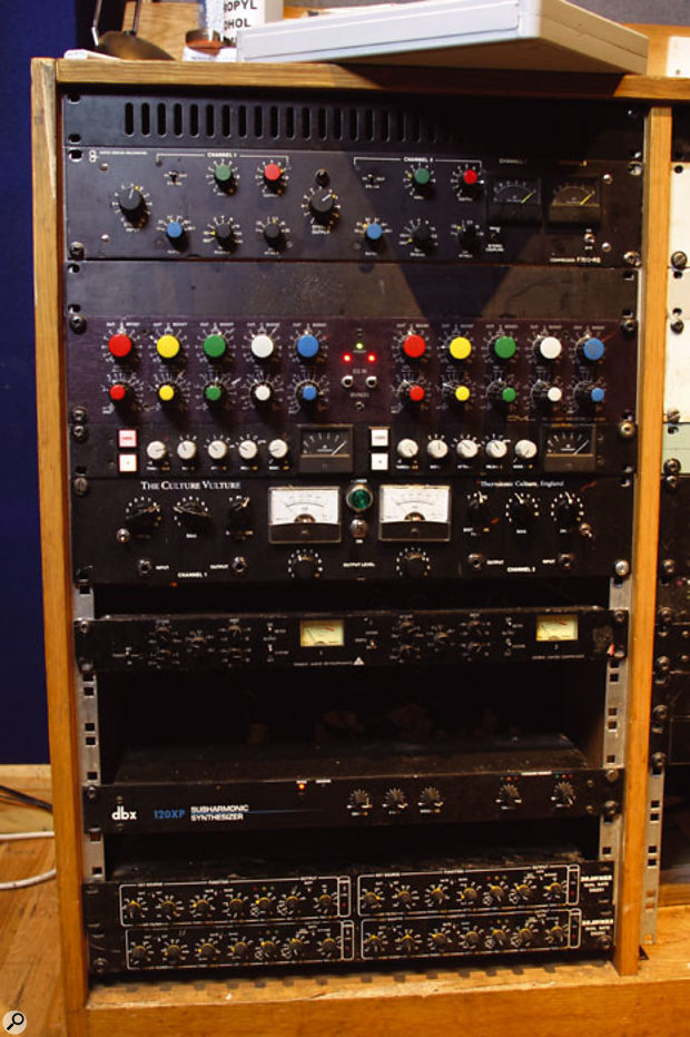 Fortress's outboard was heavily used in preference to plug-in effects and processing. From top: ADR stereo compressor, GML EQ, Al Smart stereo compressor, Thermionic Culture Culture Vulture distortion unit, Trident Audio compressor/limiter, Dbx 120XP bass enhancer, Drawmer DS201 gates (x2).