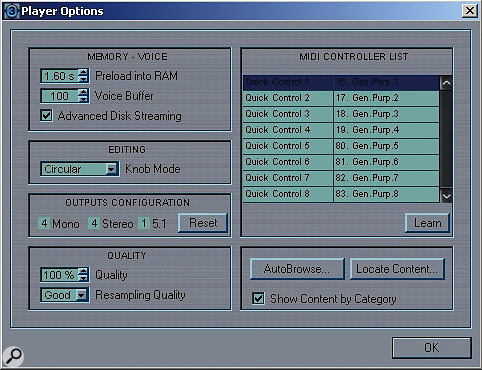 The Player Options window customises some basic playback and operational functions — note the window with the list of MIDI controllers.