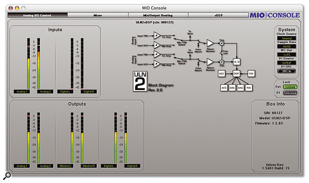 MIO Console's Analog I/O Control window, showing level meters for currenly active audio streams, plus the signal path chart and system settings.