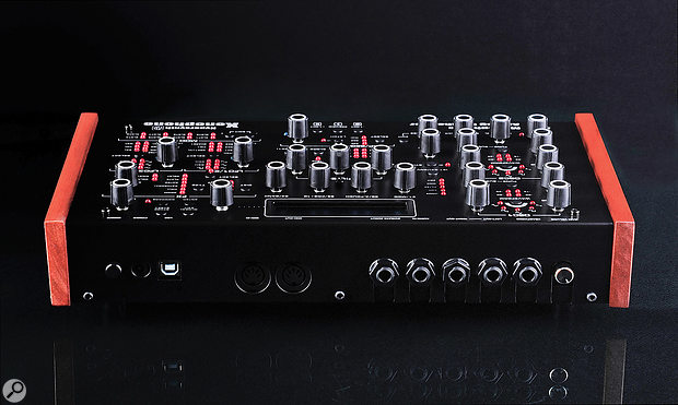 The Xenophone's back panel features a USB port, MIDI I/O and quarter-inch sockets for CV/Gate I/O, audio in, audio out and headphones. The main volume control is also found here.