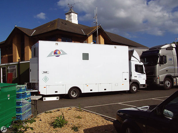 Floating Earth's location recording truck.