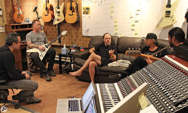 Greg Fidelman confers with the band at Metallica HQ during the recording of Hardwired... To Self-Destruct. From left: Fidelman, James Hetfield, Lars Ulrich, Kirk Hammett and Rob Trujillo.