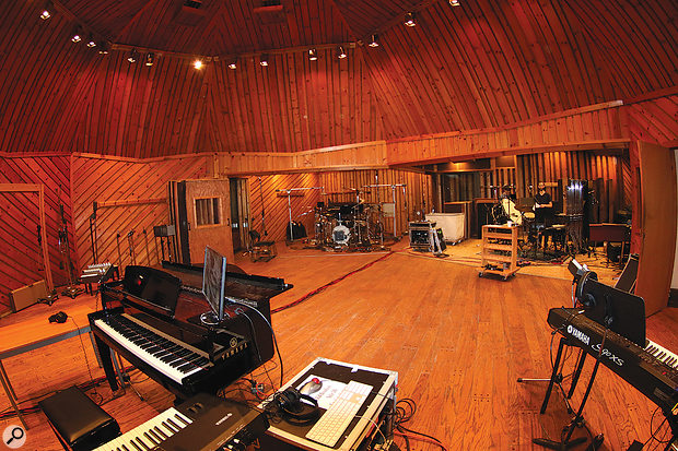 The famous live room at Avatar Studio A, as set up for the band recordings.