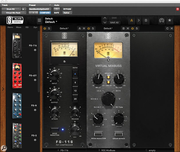 Plug-ins on the drum bus: Slate's VMR and the Sonnox Oxford Limiter.