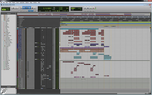 The full Pro Tools session for 'Headlines'.