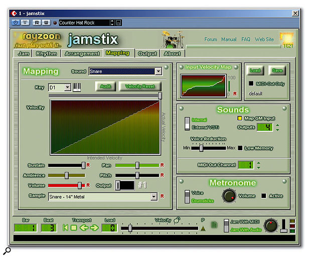 The Mapping screen allows the velocity response of Jamstix relative to the input velocity (either MIDI or audio) to be adjusted for each drum or globally.