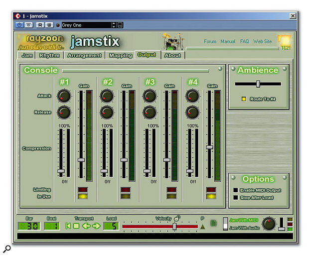 Jamstix's four outputs all feature compression and the amount of stereo mic room ambience can be adjusted to taste.