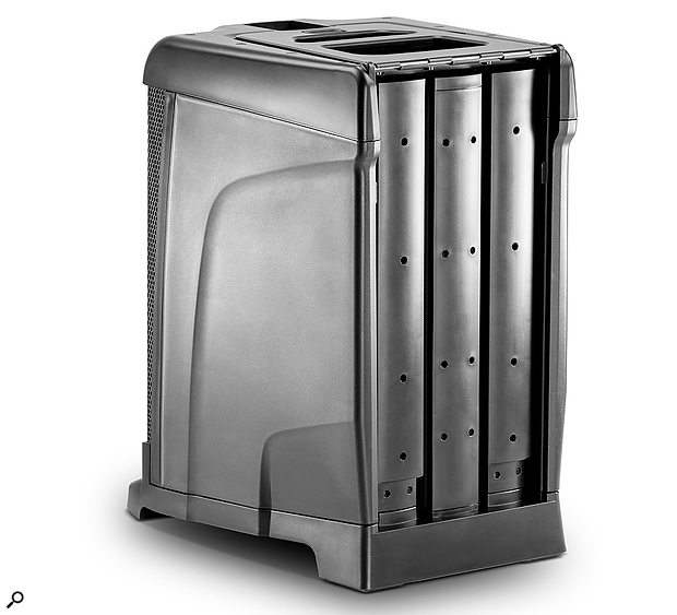 For transport and storage, the top speaker and two extending columns can be stashed away in the back of the subwoofer enclosure.