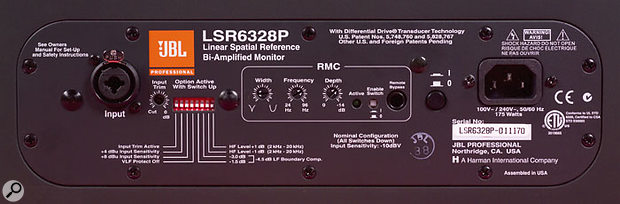 The LSR6328's rear panel Room Mode Correction controls.