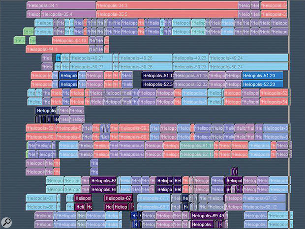 Jim Sutherland used Logic's colour-coding facility to identify the best parts of each take.