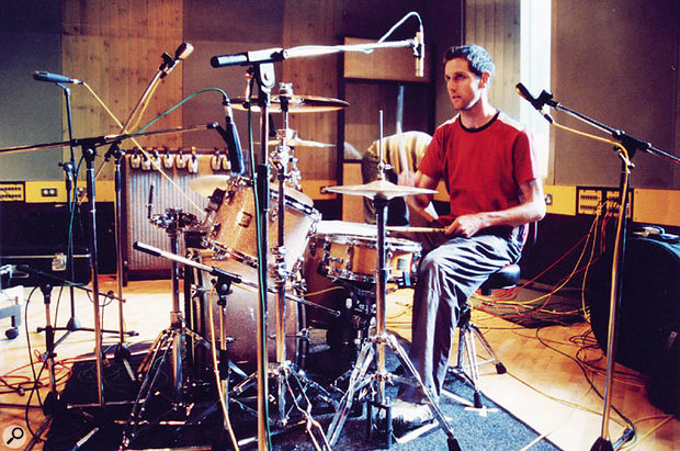 """Keane drummer Richard Hughes; Andy Green says he """"will usually record far too many mics as opposed to too few""""..."""