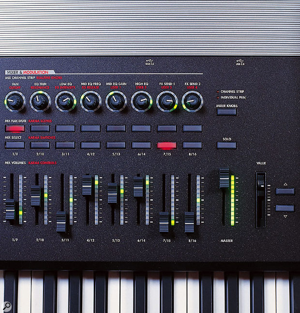 An array of assignable sliders and rotary controls fall easily to hand to the left of the touchscreen.