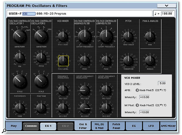 The MS20EX oscillators and filters page looks almost identical to the panel of an MS20. The Parameter Details panel in the lower right-hand corner offers complete information about any selected parameter.