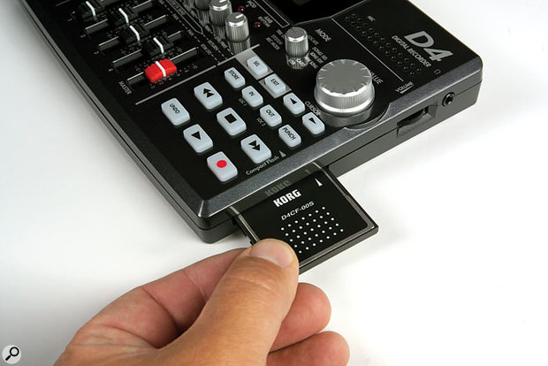 The D4 records directly to an internal Compact Flash card, and capacities of up to 2GB can be used.