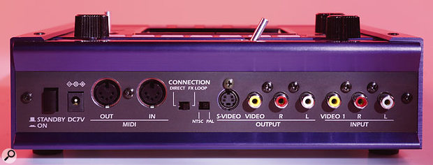 The rear edge of the KPE1 is busier, with the connectors for the main audio and video output, the other audio and video input, MIDI and power. The small switch in the middle allows you to determine the format of the video the KPE1 will be using: NTSC is the US standard, while PAL is used in Europe and elsewhere.