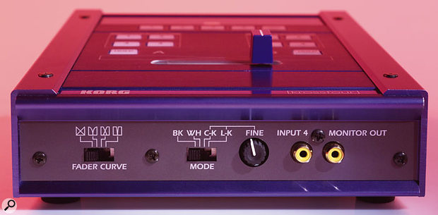 The front edge of the KF4. Different fader curve types are selectable via the switch on the left, and the important Mode switch allows you to experiment with Chroma-key type image-superimposition effects, or instantly switch the main output to all black or all white. The fourth video input and the output for the optional video input monitor are also located here.