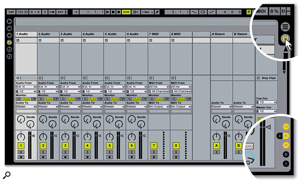 The vertical stripes in the upper right side of the screen indicate the Session view, while the button above it with the horizontal stripes indicates Arrangement view. Click on the appropriate button to select the desired mode. The show/hide buttons are along the lower right side of the mixer. Click on the buttons shown in orange to make sure everything you need to see is visible.