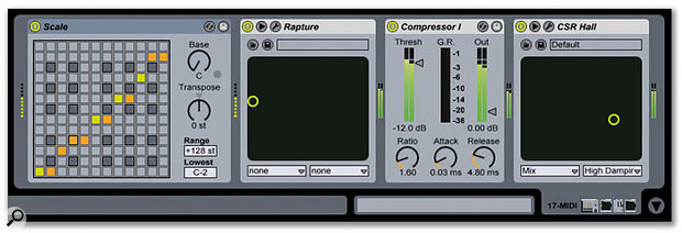 Cakewalk's Rapture instrument is inserted into Live. It's preceded by Live's Scale MIDI effect, and its audio out goes through Live's Compressor I effect followed by IK Multimedia's CSR Hall effect.