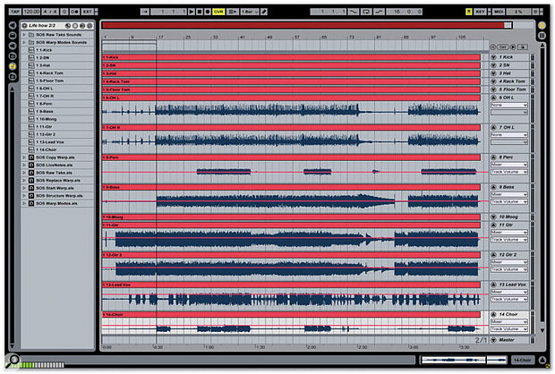 A multitrack take in Live's Arrangement view looks very similar to any other DAW.