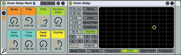 1: A Grain Delay embedded in an Audio Effects Rack with its controls mapped to the rack's Macro knobs. I've colour coded the controls by function: orange for grain settings, green for pitch, blue for delay and yellow for output. Spray (top-left) is actually a delay setting, but its effect is to add jitter to the grain spacing, so I think of it as a grain setting. The numerical box next to Grain Delay's Sync/Time button has different functions and separate mapping assignments in Sync and Time modes, and I've dedicated a knob to each.