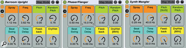 4: These three Effects Rack panels reflect the settings for abar-room upright piano, aphaser/flanger-like effect for strings and pads and extreme processing for alead synth. The orange and black regions of the phaser/flanger Time Delay knob reflect clip-envelope modulation emulating atriangle-wave LFO. MIDI mappings for mod wheel (MW) and sustain pedal (SUS) are also indicated.