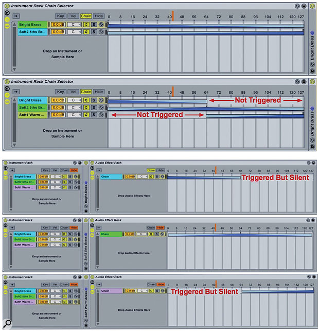 1: An Instrument Rack's Chain Selector will crossfade between two instruments. For more than two, use separate Audio Effects Rack Chain Selectors instead.