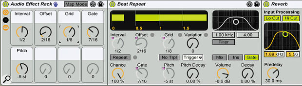 In this setup, Beat Repeat grabs the second and fifth eighth‑note in each bar of a background vocal, pitch-shifts it down a Perfect Fourth (five semitones), and feeds it into the reverb.