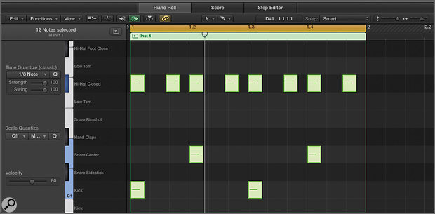 Screen 1: As you increase the Swing value your notes will take on more of a  triplet feel. This can clearly be seen when setting the grid to display triplets by setting the Division to 1/12 and then applying the maximum Swing setting to the eighth-note hi-hat part.