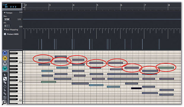 Screen 1. A freely played MIDI keyboard part won't match your MIDI bars and beats grid, but you can get Logic to move the grid so that it fits the played part. The first thing you have to decide is which events you're going to drag the bar lines to match — for this example, it's the ones circled above.