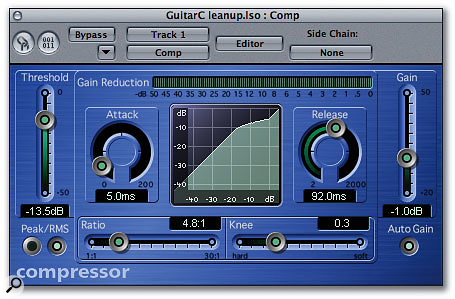 A compressor setting such as the one shown allows you to back off your guitar overdrive without sacrificing too much in the way of sustain.