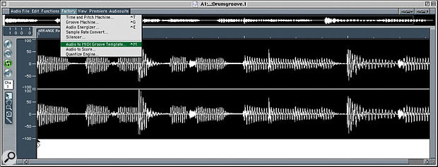 Call up the Audio To MIDI Groove Template option from the Audio Window's Functions menu, and you'll be presented with the settings dialogue box.