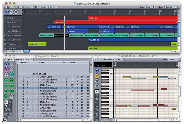 Here is a powerful setup for MIDI arrangement and editing. The Arrange window at the top is set to Catch, so that the window scrolls to follow the Song Position Line (SPL). The Event List window on the left is set to Link, so that it shows the positions and lengths of the MIDI sequence objects in the Arrange window, and also shows which are selected. The Matrix Edit window is set to Contents Catch mode so that it always shows the contents of the current MIDI track.