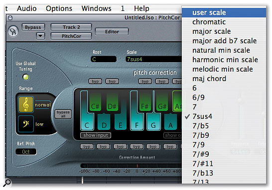 Logic's Pitch Correction plug-in: you can modify scales by selecting and deselecting notes from the keyboard in the centre of the window, or choose from the presets in the drop-down menu.