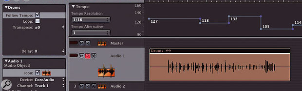 In the new version 7.1 you can make audio regions respond to tempo changes in your arrangement, much as Apple Loops do in Garage Band.