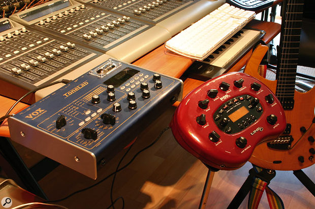 If you aren't able to record with a real guitar amp for whatever reason, there are at least two other options available: you can use one of the large range of modelling guitar preamps on the market (such as the Vox Tone Lab or Line 6 PodXT shown here), feeding the output into your audio interface's line inputs.