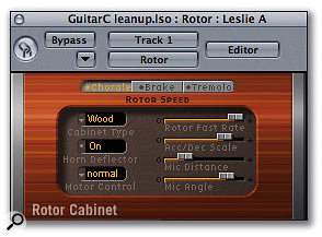 Rotor Cabinet, designed for use with Logic's internal tone-wheel organ instrument, is great for giving a little modulation to guitar sounds.