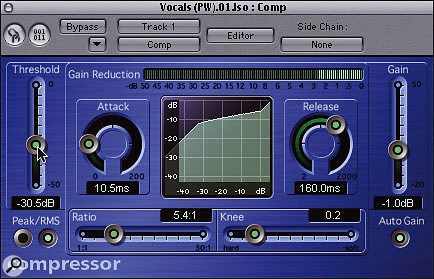 A useful general vocal compression setting is shown above, although again you'll need to adjust the Threshold to taste.