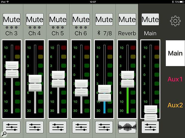 The MixConnect app's main mixer view.