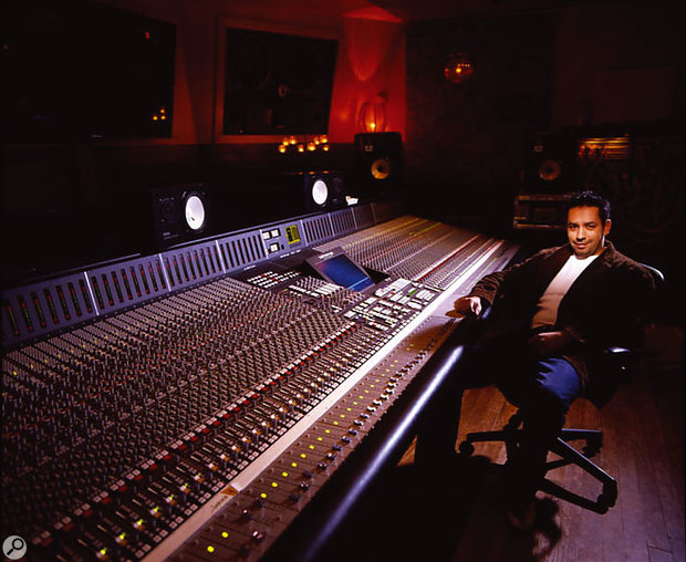 Manny Marroquin at the SSL 9000K desk in his 'home' studio: Larrabee North Studios in North Hollywood.