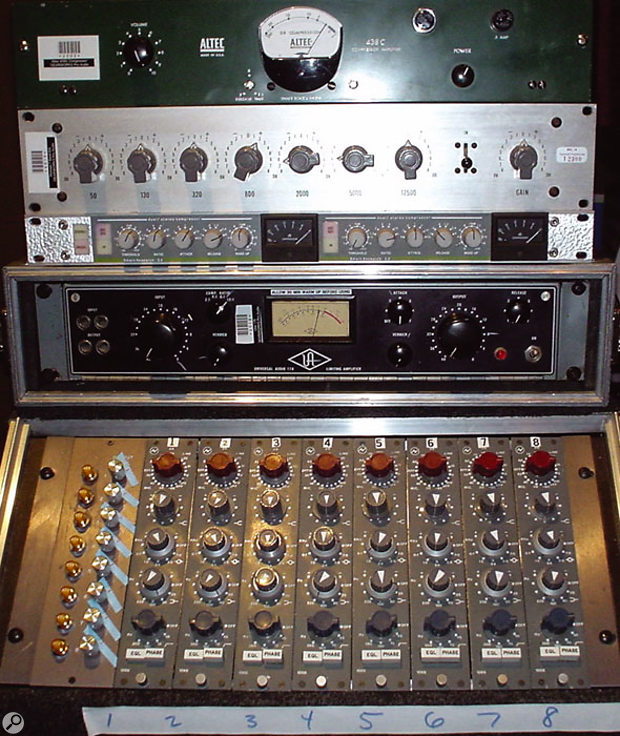 Some of Manny Marroquin's 'favourite toys', including Neve 1066 preamps upgraded to 1073s by Brent Averill.