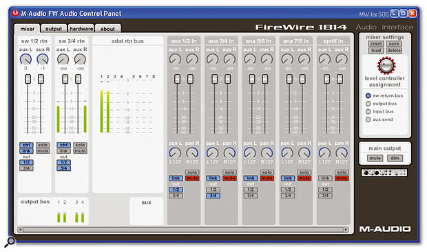 The Firewire 1814 Mixer provides plenty of versatility, especially since the Aux buss can not only be used to set up a separate monitor mix, but also to patch in an external hardware effects unit. In this screenshot you can also see the eight-channel metering of the ADAT option.