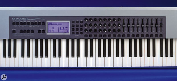 Despite its affordability, the Keystation Pro 88 has plenty of assignable hardware controls on offer (on both rotaries and faders — see right and far right), plus comprehensive zoning facilities and MIDI message transmission options.