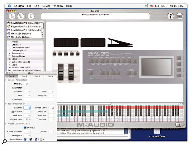 M‑Audio's existing Enigma editing/librarian software has now been updated to work with the Keystation Pro 88.