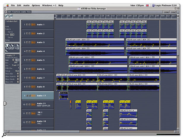 The mix for 'Shadow Journal': the string recordings made to analogue tape at Eastcote are imported into Pro Tools (with Logic as a front end) for editing and combined with the other elements of the track, such as the electronica and spoken-word recordings.