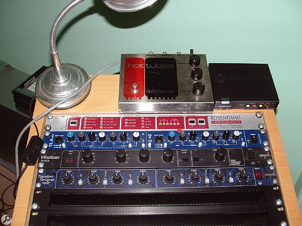 More of Richter's gear (from top): his favourite Electro-Harmonix Hot Tubes pedal, Rosendahl Nanosyncs master clock, TLA Indigo stereo EQ, SPL Vitalizer enhancer and Transient Designer.